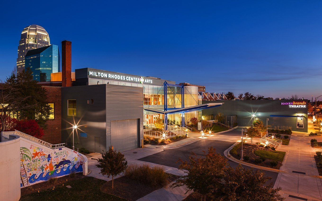 Milton Rhodes Center for the Arts exterior in the evening