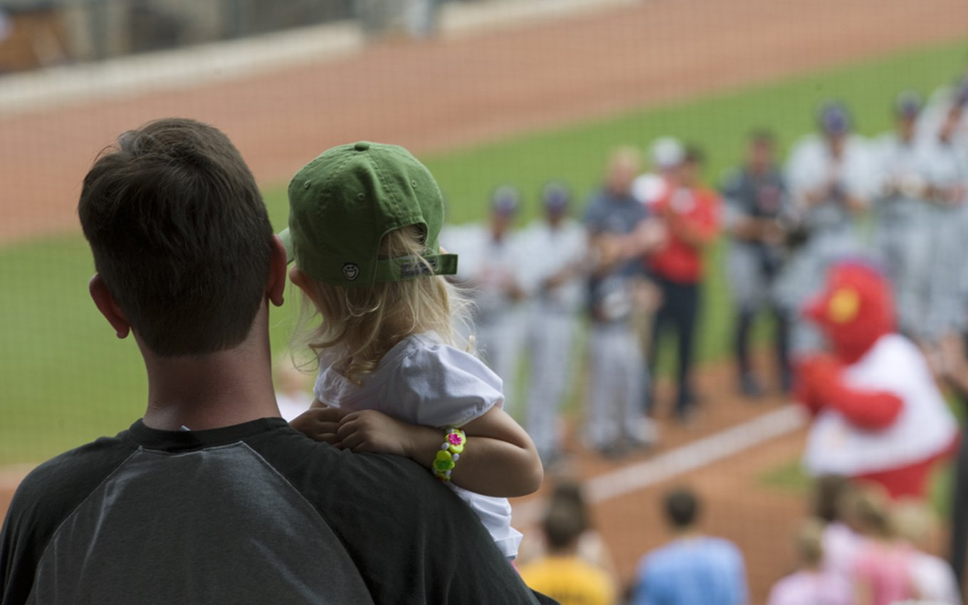 BB&T Ballpark Dad and Daughter Watching Players View from Behind