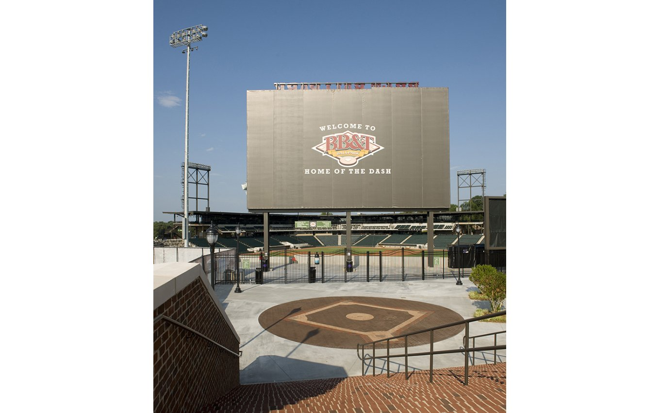 "BB&T Ballpark Entrance and and Welcome Sign ""Welcome To BB&T Home of the Dash"""