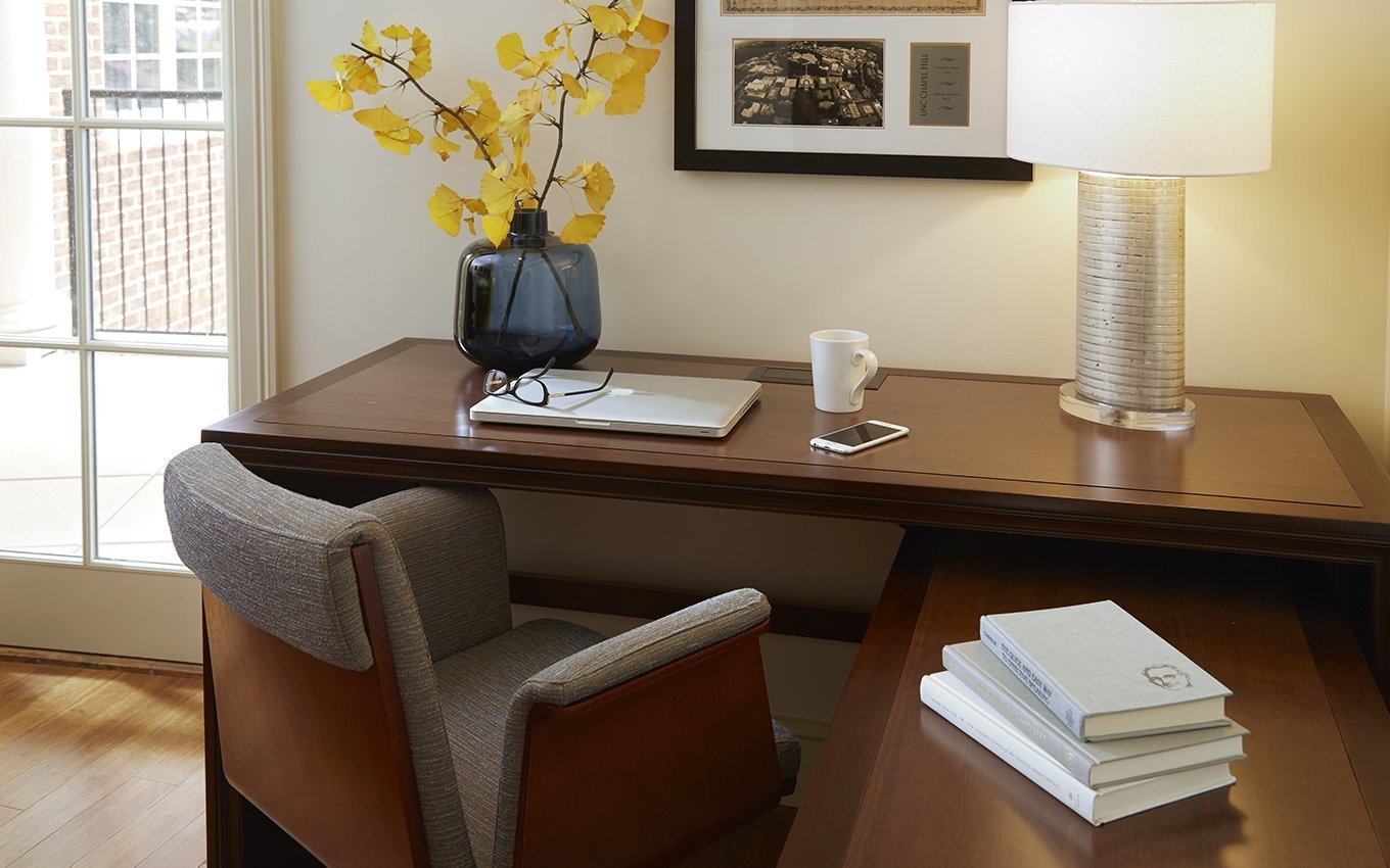 Rizzo Conference Center Guest Room Desk, Books, Lamp