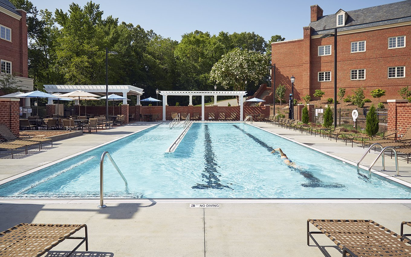 Rizzo Conference Center Outdoor Pool with two lanes and ramp