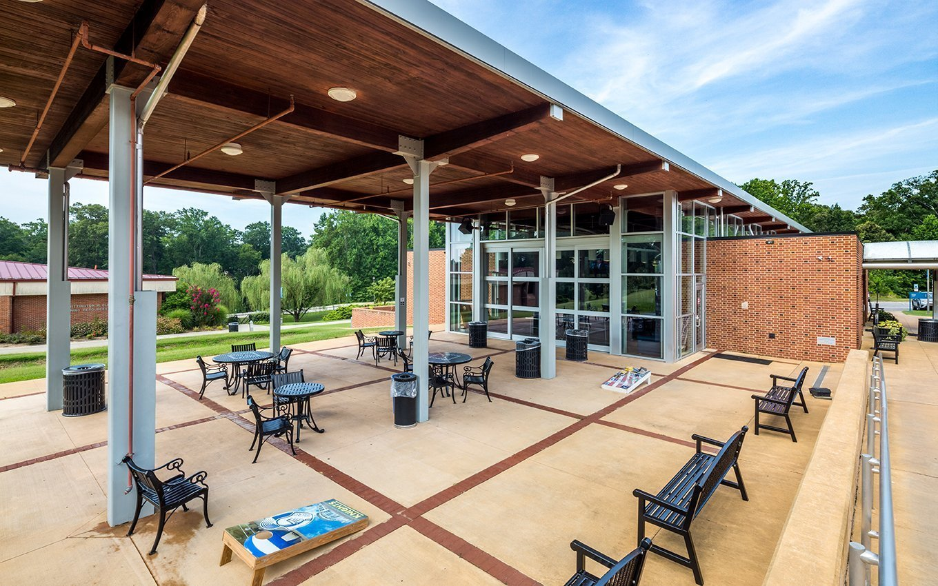Danville Community College (DCC) Student Center exterior partially covered patio