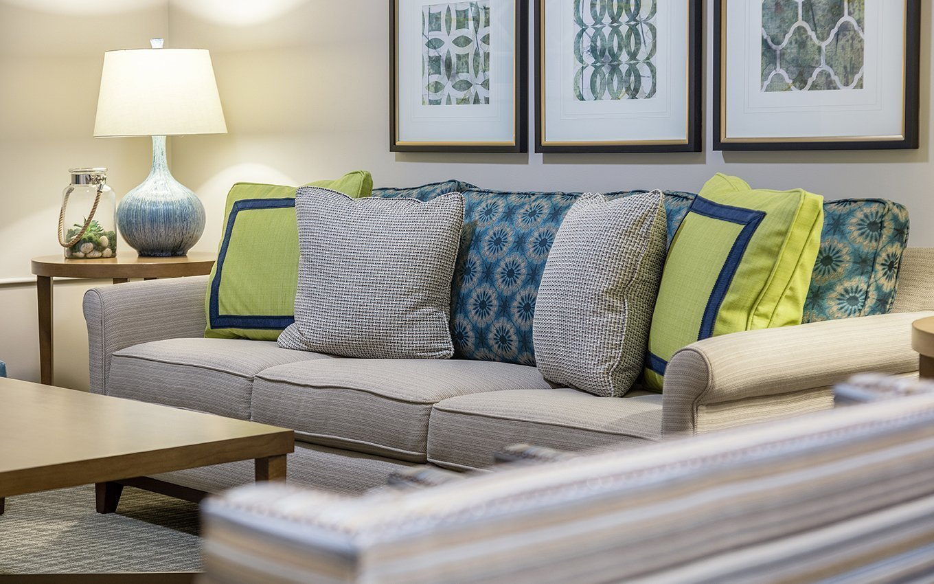 Glenaire Residents Commons Area closeup of couch and pillows