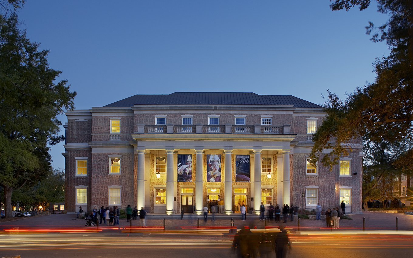 University of NC Memorial Hall at dusk streetview