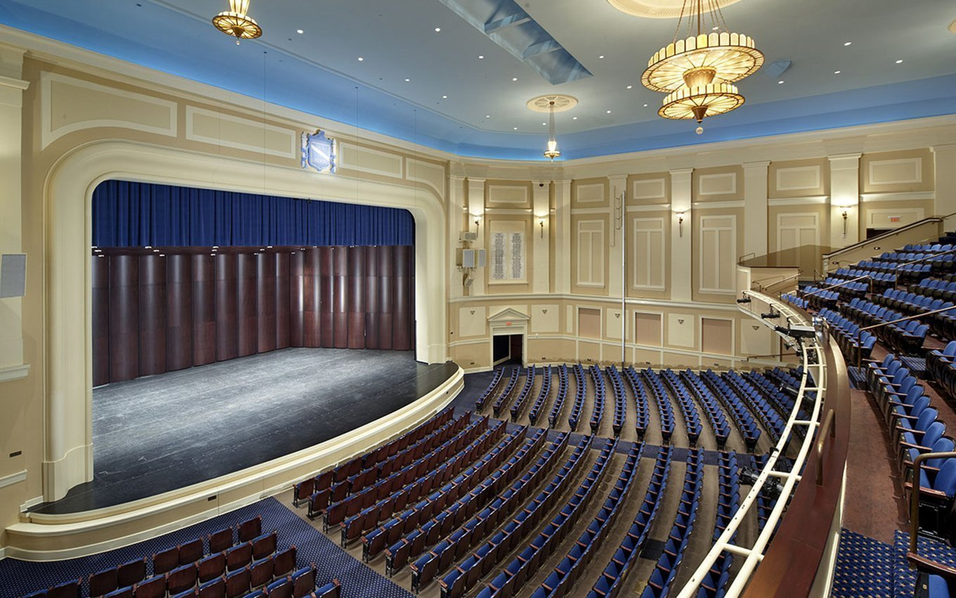 University of NC Chapel Hill Memorial Hall Interior with seats and stage