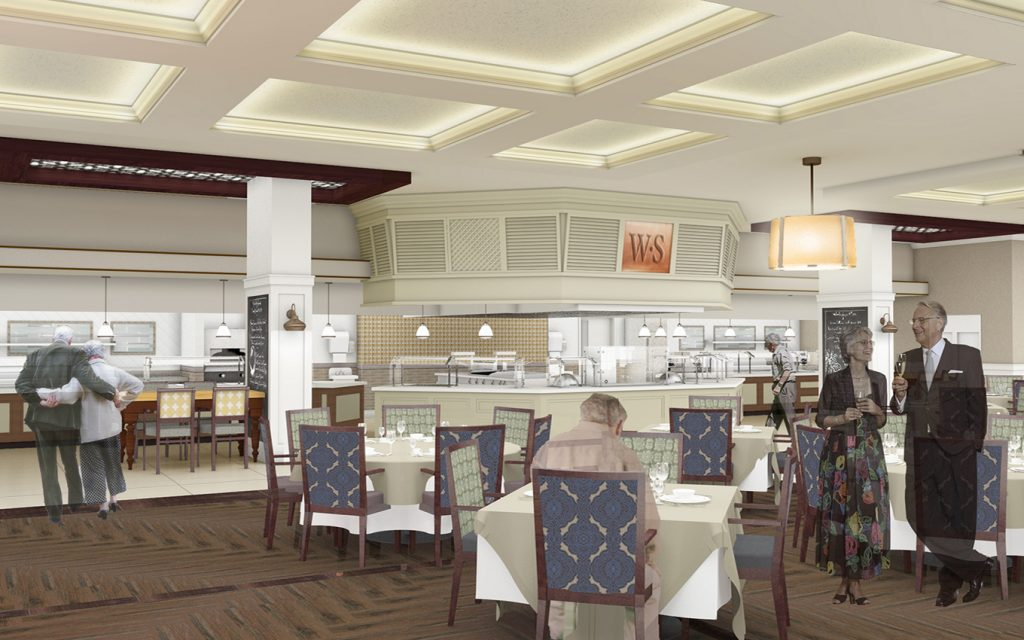 Bauman Bistro at Wellspring Live Plan Community with tables chairs and serving areas
