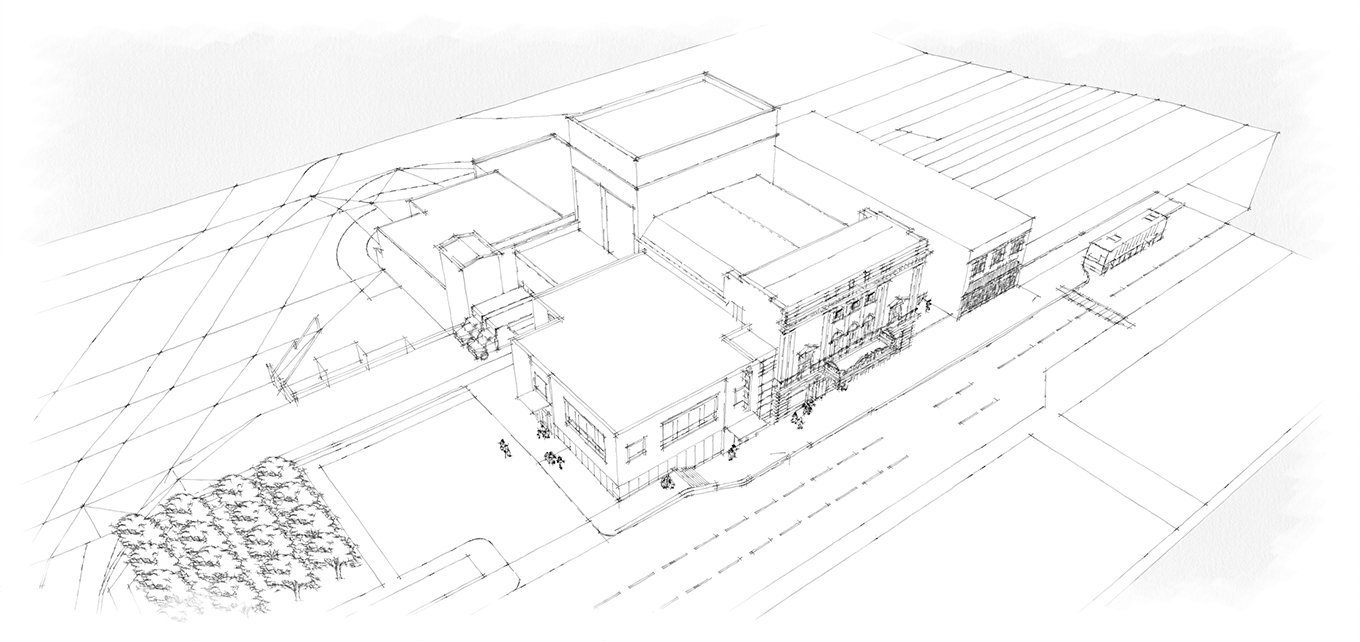 Academy Center of the Arts aerial view rendering