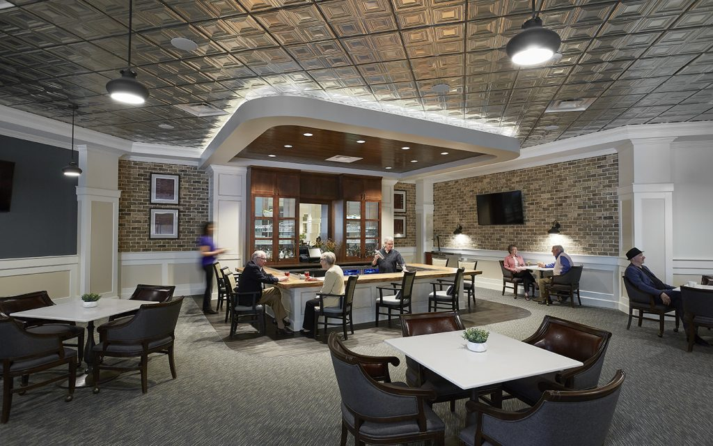Renovated spaces include larger bar area and casual dining space
