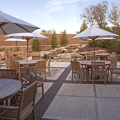 dining for seniors in a post-COVID era. Outdoor patio dining area at Danberry at Inverness.