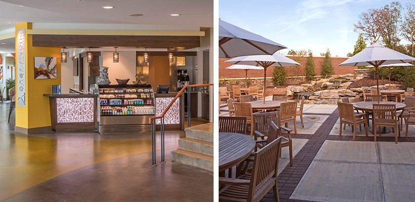 dining for seniors in a post-COVID era. Market area at Hotel Indigo Asheville and outdoor dining patio at Danberry at Inverness